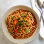 lentil ragu in spaghetti