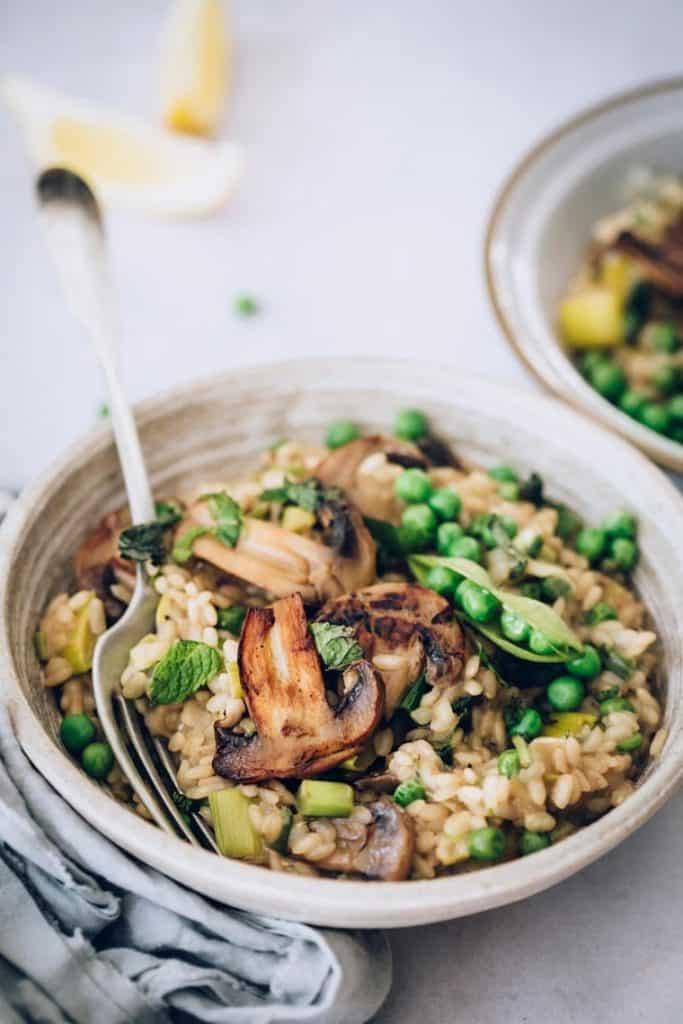 vegan easter mushroom risotto