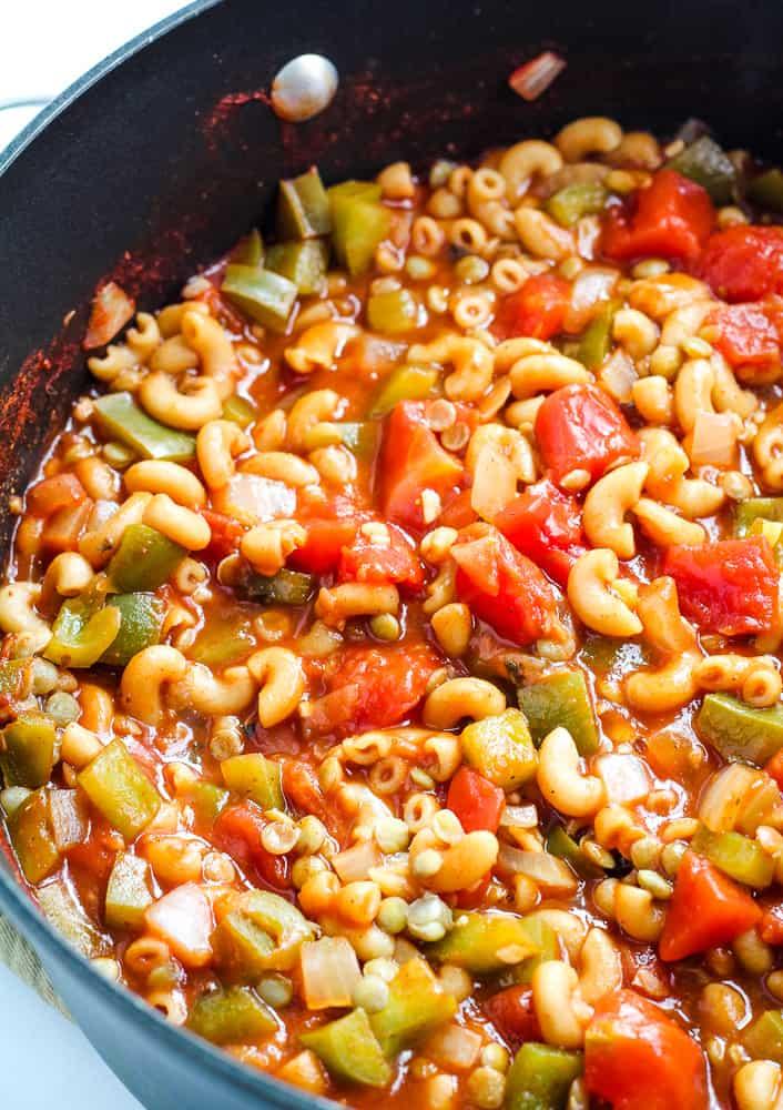 vegan goulash in pot