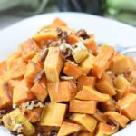 vegan sweet potatoes with coconut and pecans