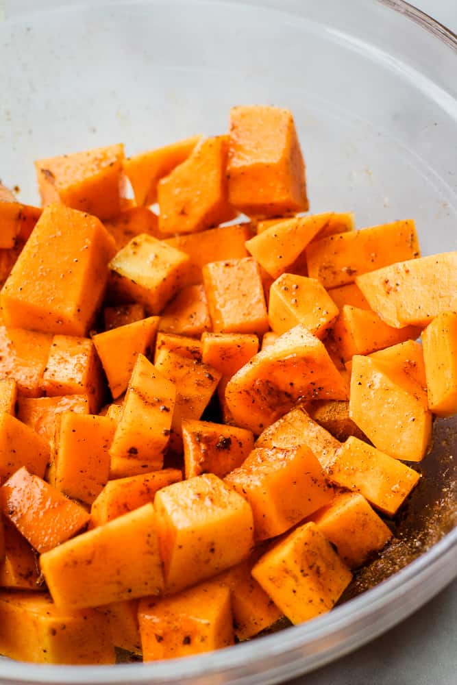 close up of seasoned butternut squash