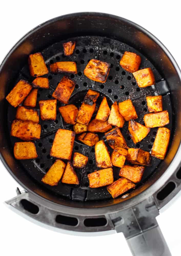 butternut squash in air fryer basket