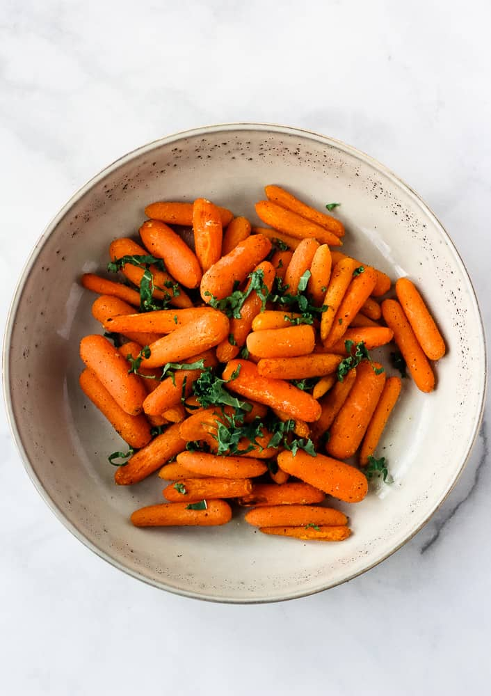 overhead air fryer carrots in bowl
