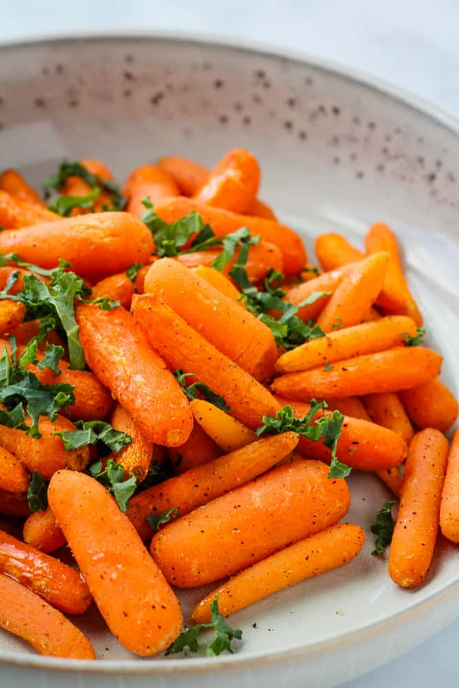 air fryer carrots in white bowl