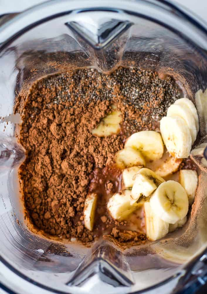 chia pudding ingredients in blender