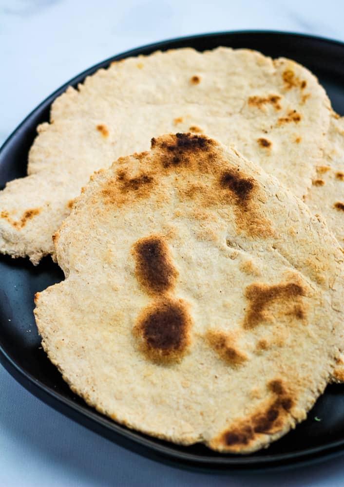 no yeast flatbread on black plate