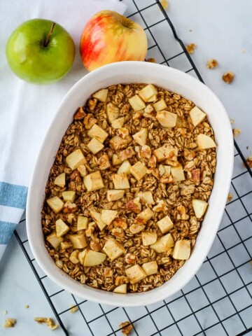 overhead vegan baked oatmeal