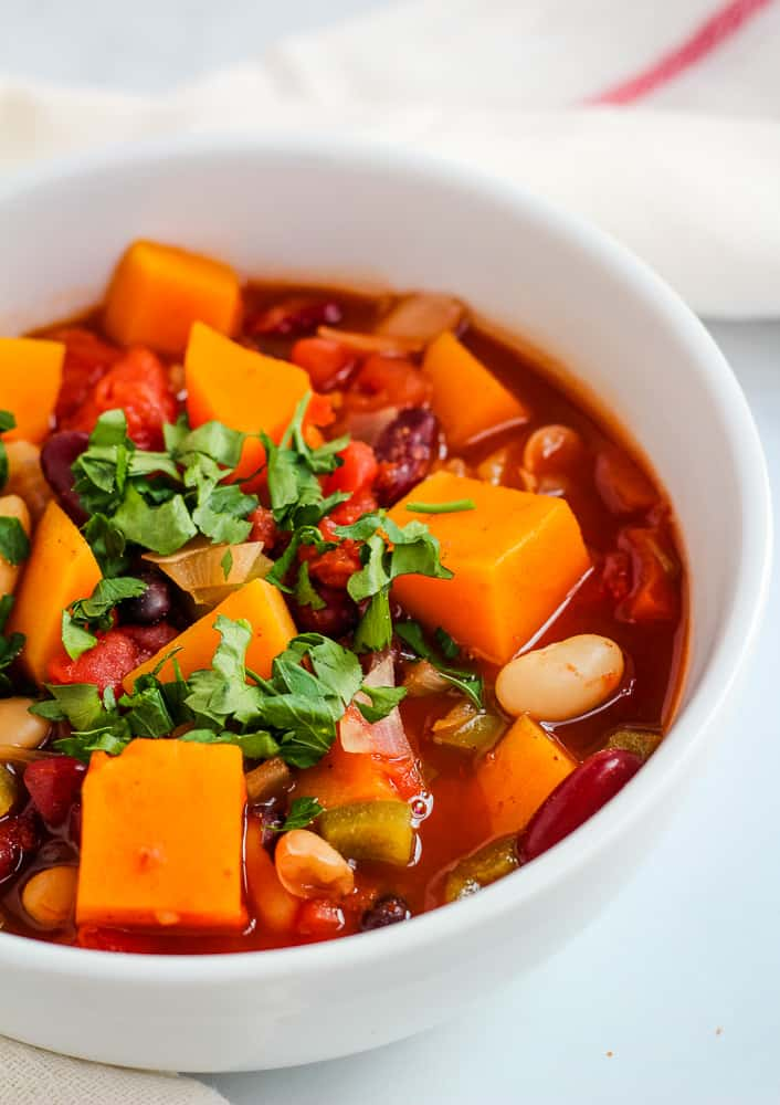 close up of butternut squash chili