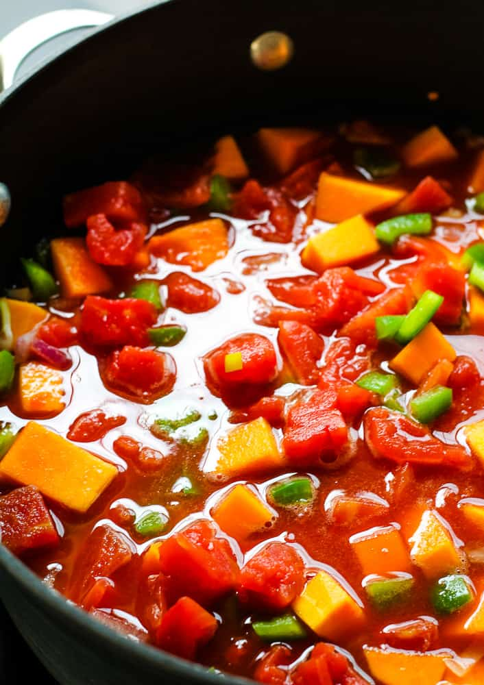 butternut squash simmering in tomatoes