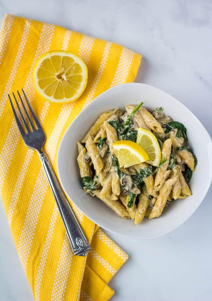 vegan mushroom pasta overhead