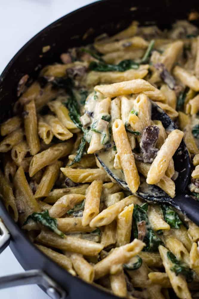 spoonful of vegan mushroom pasta in pot