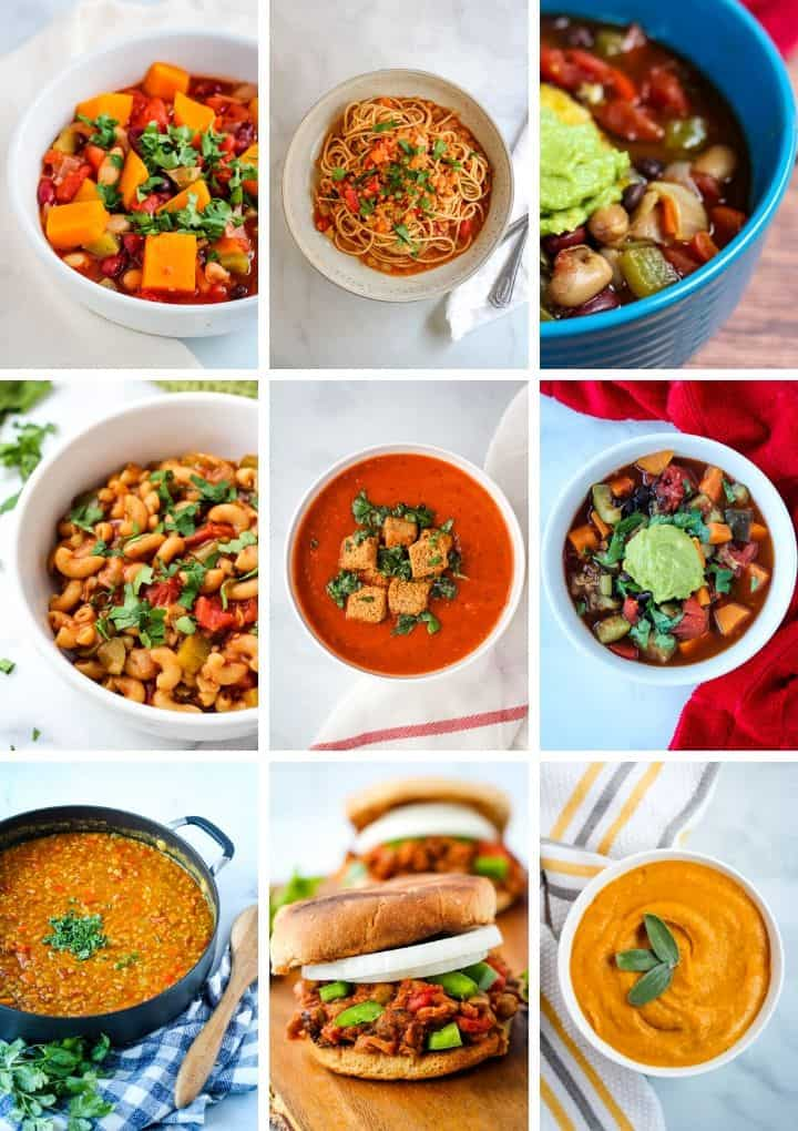 vegan pantry meals collage