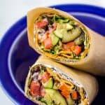 lavash wrap sandwich in blue bowl