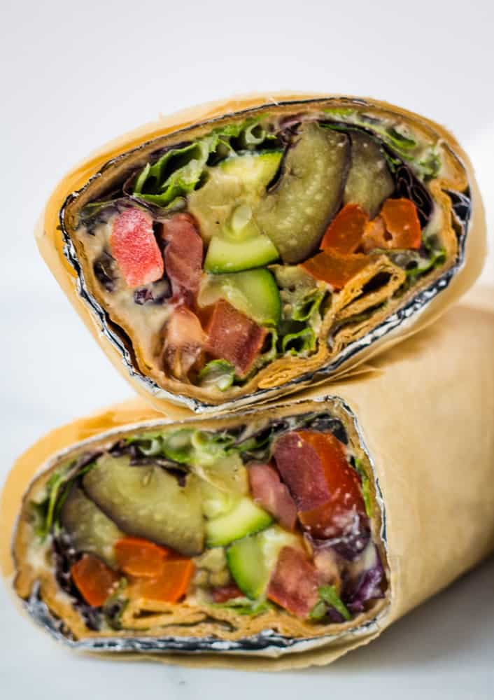 lavash wrap sandwich cut in half and stacked