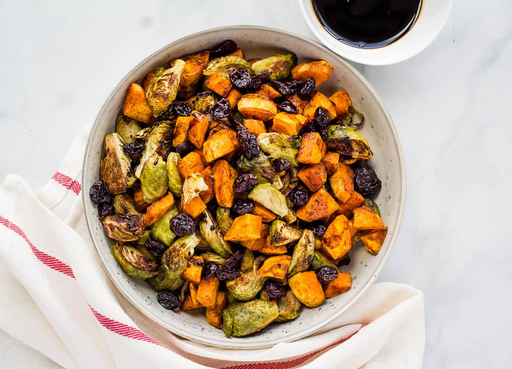 sweet potato brussel sprout hash in serving bowl