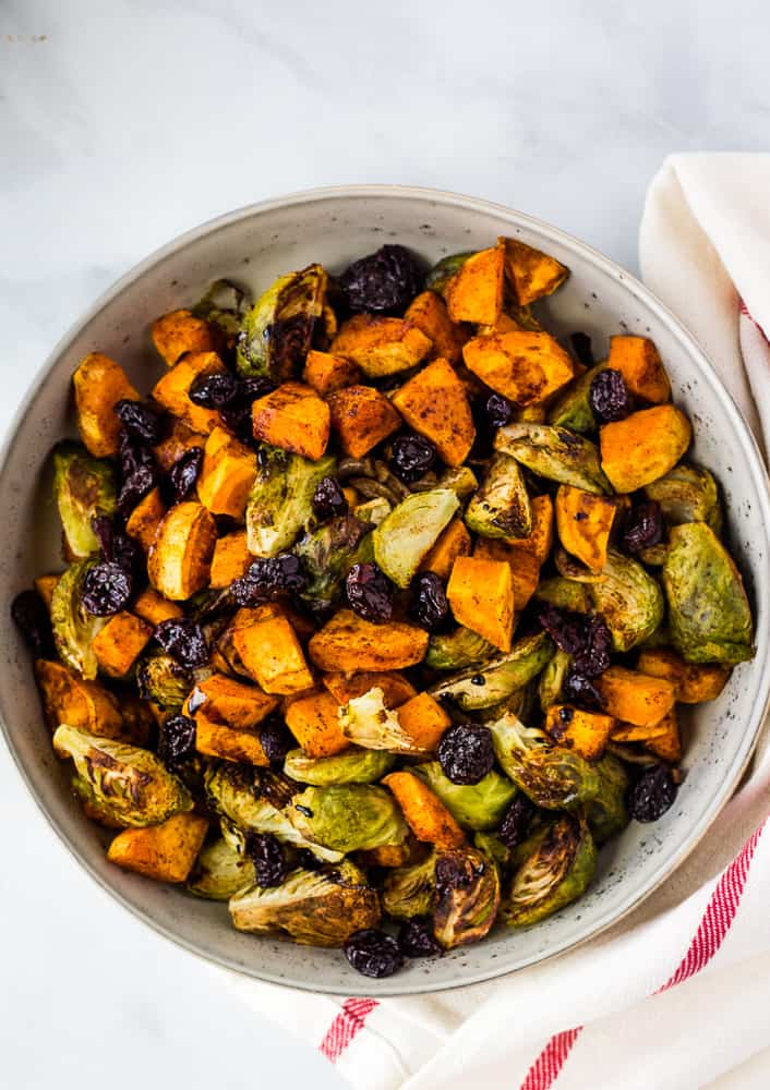 overhead of sweet potato brussel sprout hash in serving bowl