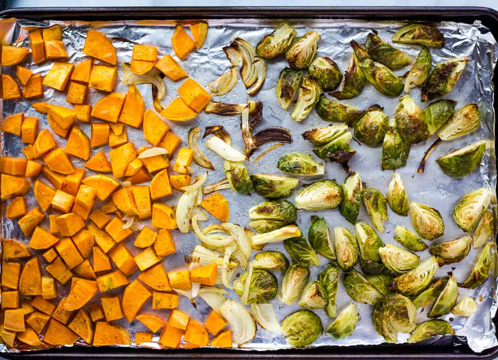 roasted vegetables on sheet pan