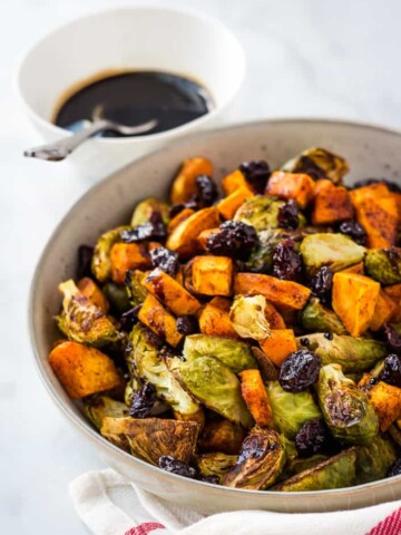 sweet potato brussel sprout hash with balsamic glaze