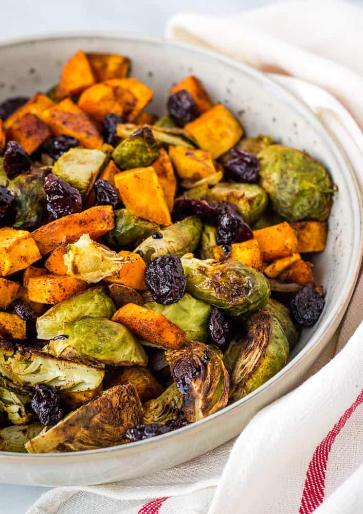 sweet potato brussel sprout hash with cherries