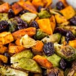 close up of sweet potato brussel sprout hash