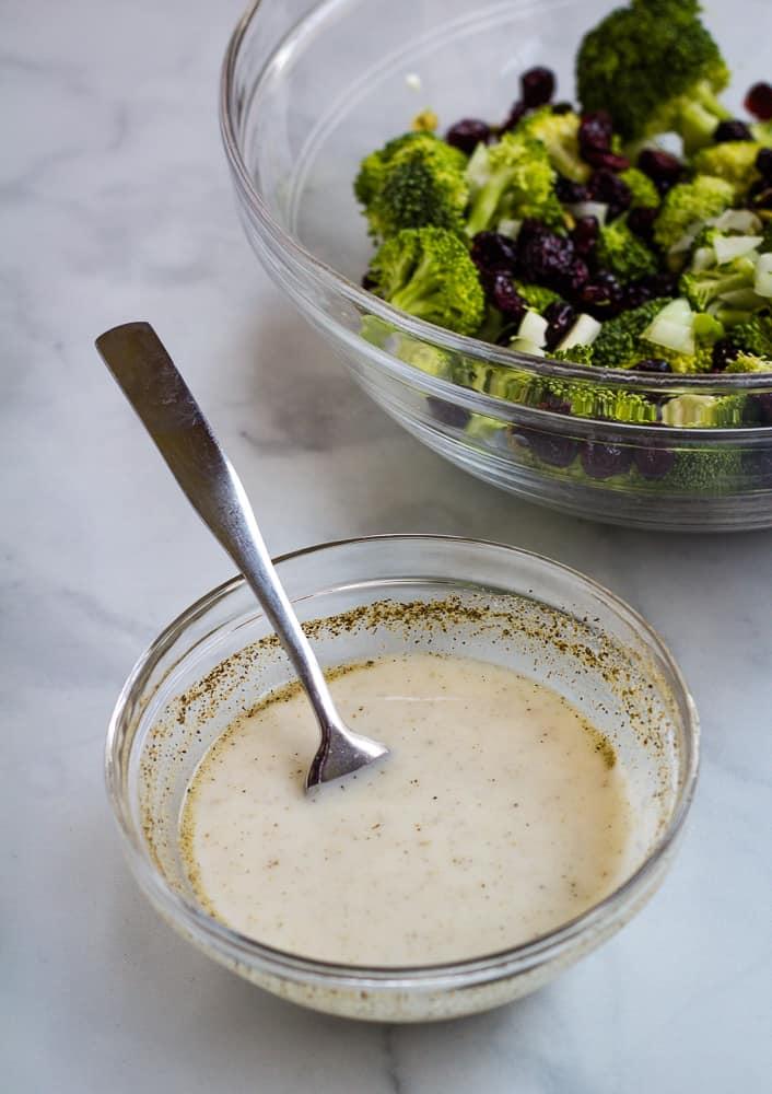 dairy free yogurt dressing in bowl