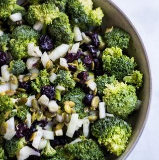 vegan broccoli salad overhead
