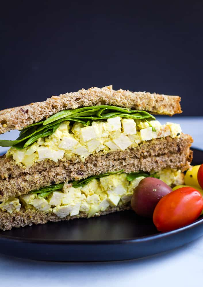 vegan egg salad with cherry tomatoes