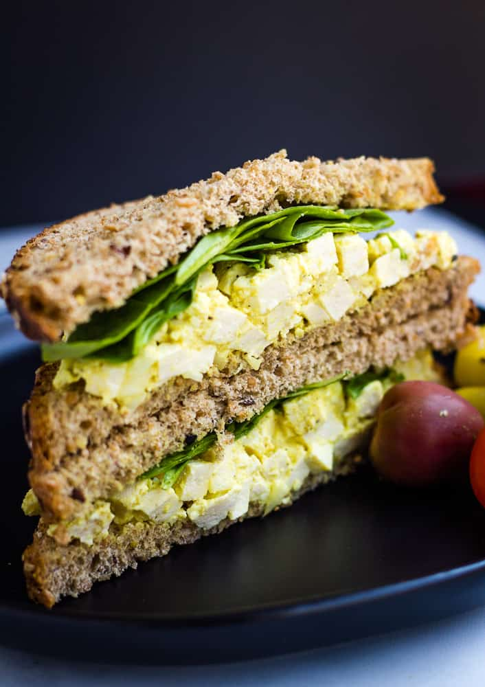 side view of vegan egg salad sandwich