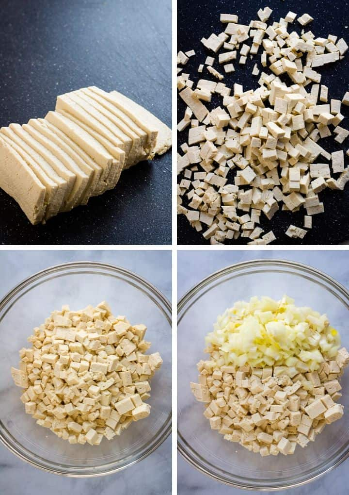 process of finely chopping tofu