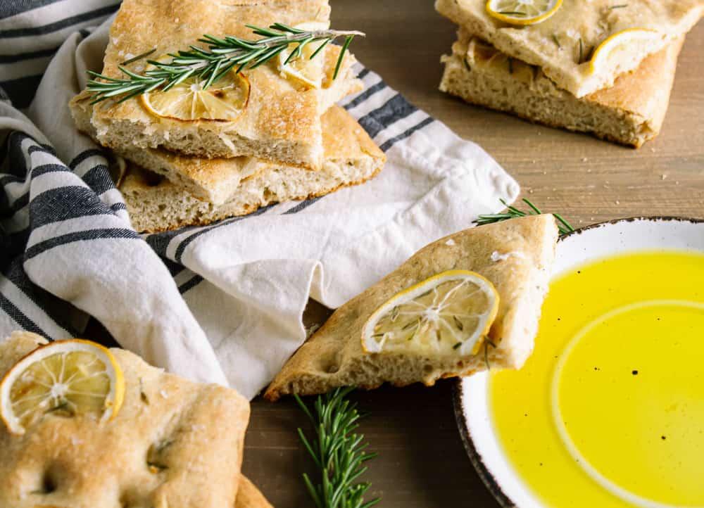 vegan focaccia and olive oil