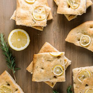 slices of vegan focaccia with rosemary and lemon