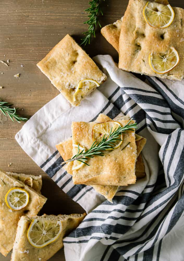focaccia bread on dish towel