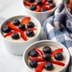 vegan vanilla pudding in ramekins