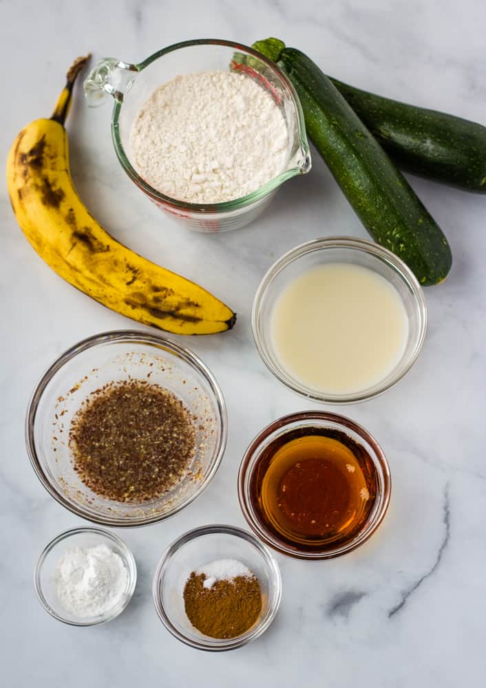 banana, zucchini, and muffin ingredients