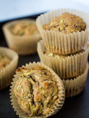 vegan zucchini muffins stacked