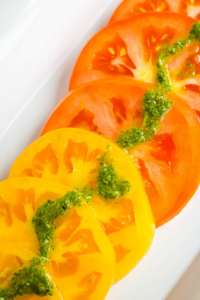 heirloom tomatoes with basil sauce