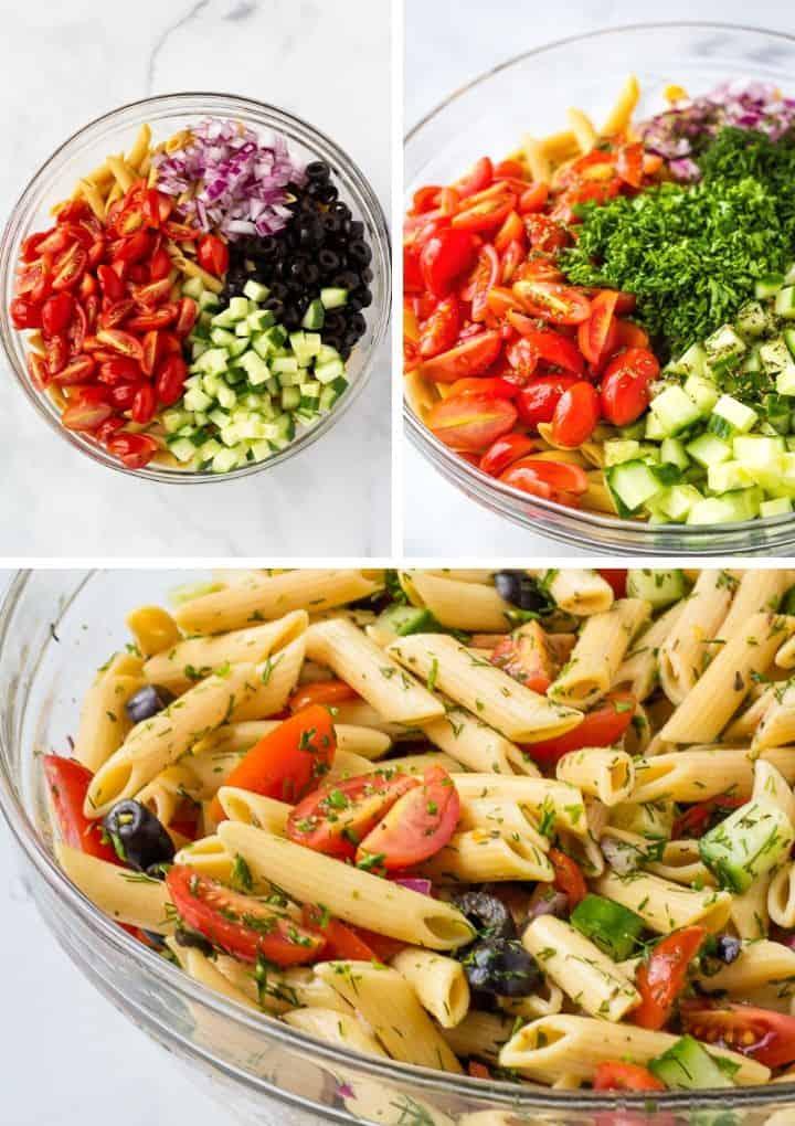 gluten free pasta salad steps to combine ingredients
