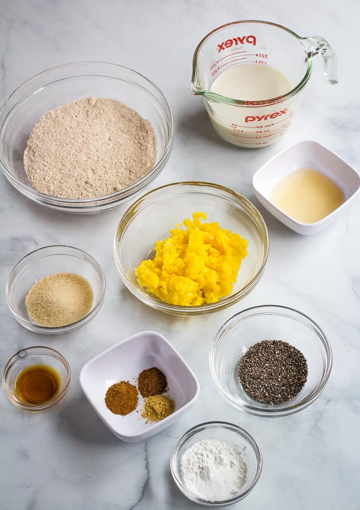 vegan mango pancake ingredients in small bowls
