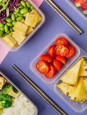 plant based snacks apple tomato pineapple, tofu and vegetables