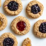Thumbprint cookies on white background.