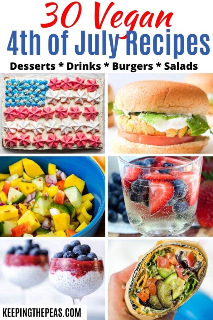 Vegan 4th of July recipes: Flag cake, mango salad, lavash wrap, vanilla berry budding, berry chia pudding, chickpea burger.