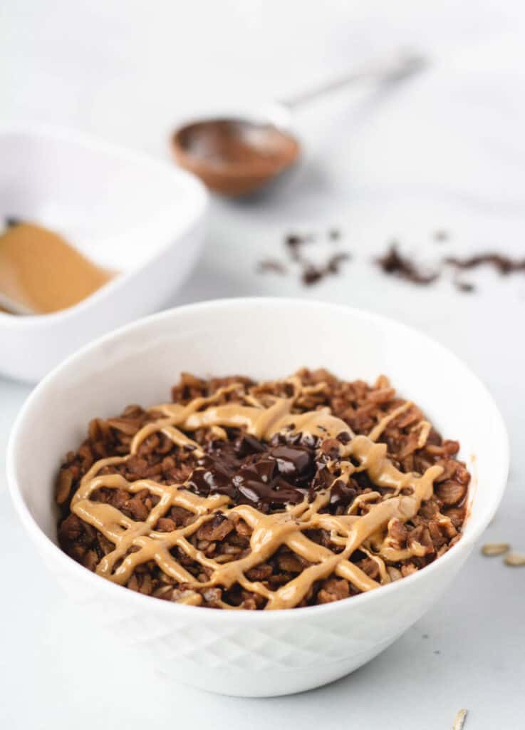 brownie oatmeal in white bowl