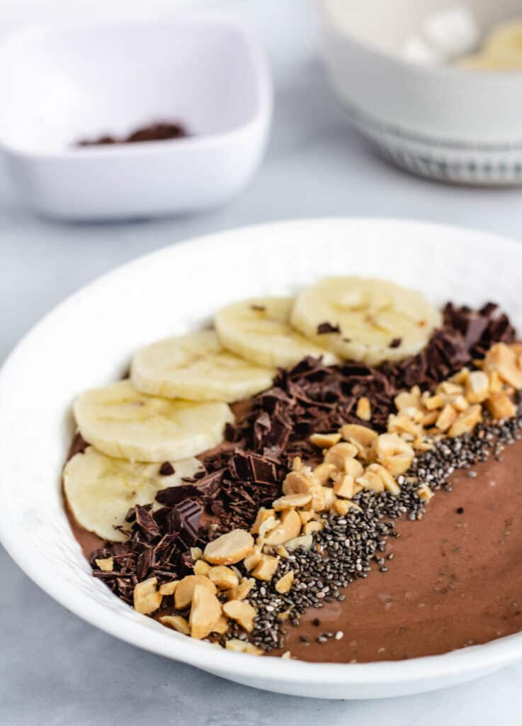 bowl of chocolate topped with banana