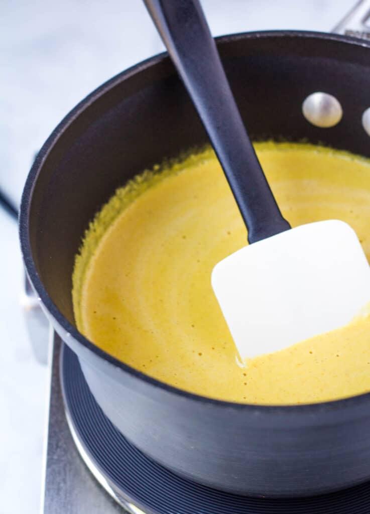 vegan cheese sauce in saucepan