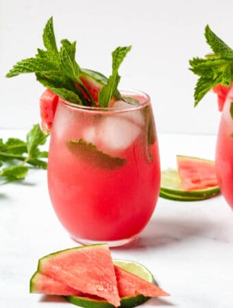 watermelon mocktail in stemless wine glass