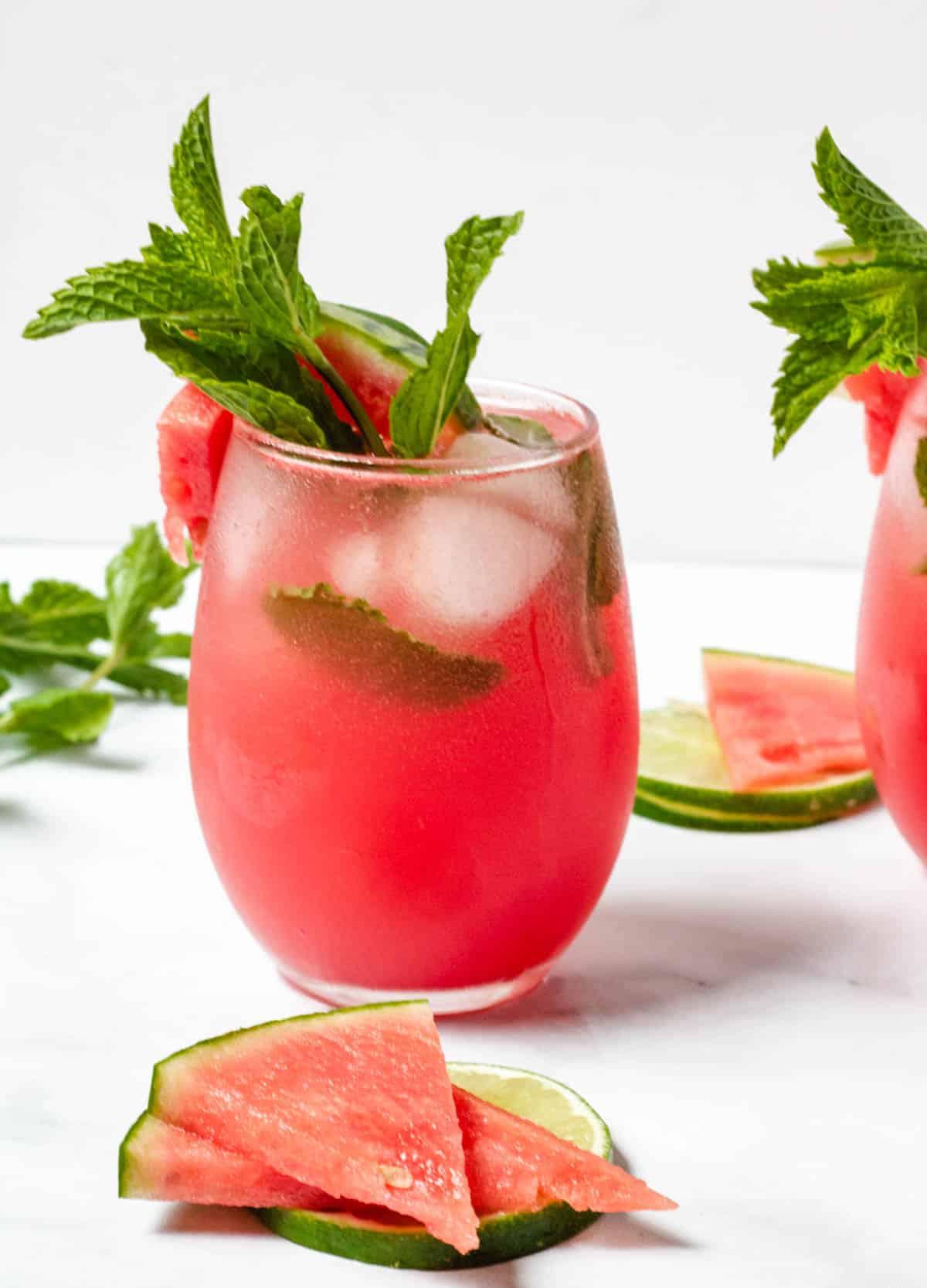 watermelon mocktail in stemless wine glass