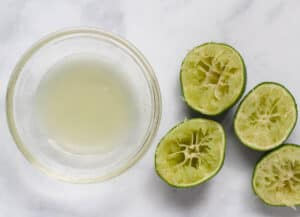 lime juice in glass bowl