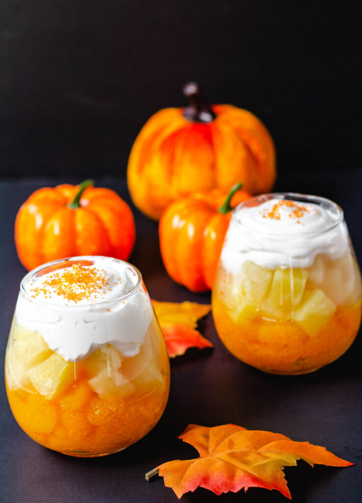 candy corn fruit parfaits with mandarin oranges and pineapple