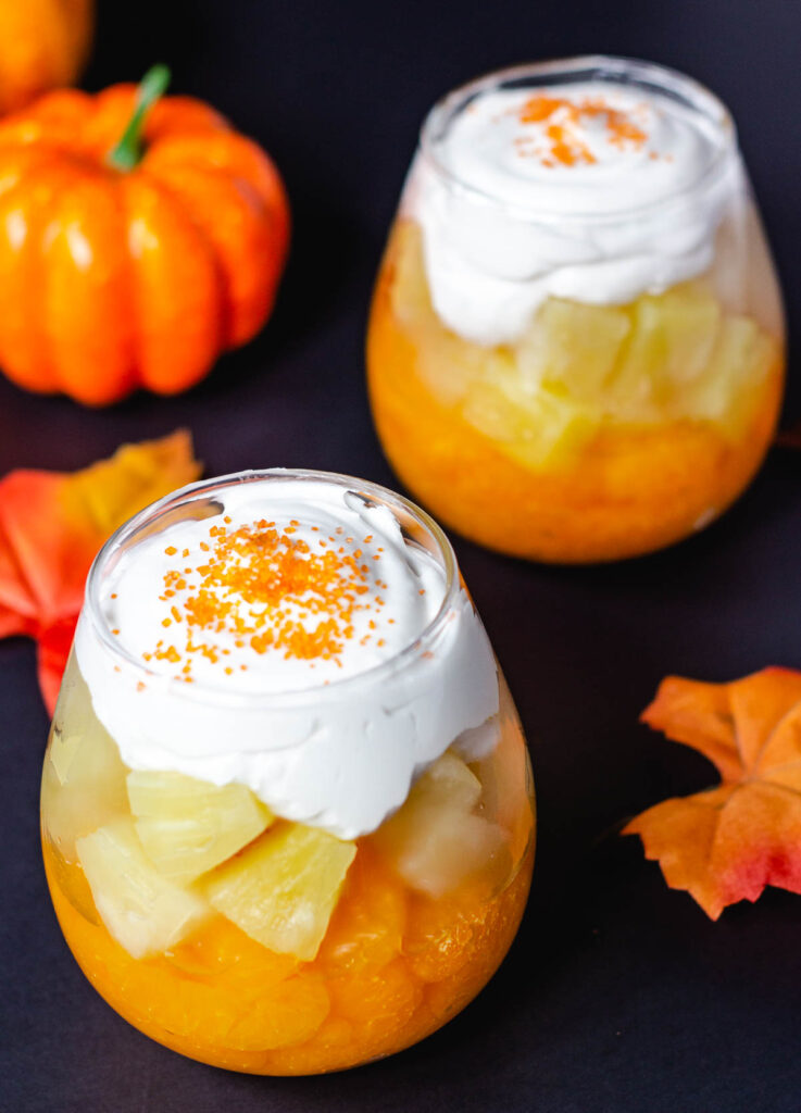 candy corn parfaits in glass cups