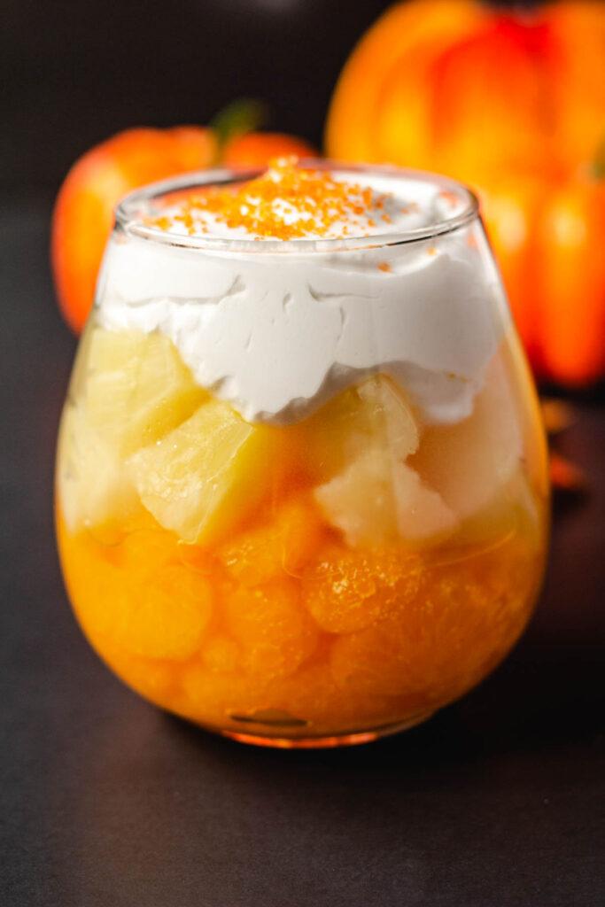 orange, yellow and white fruit parfait